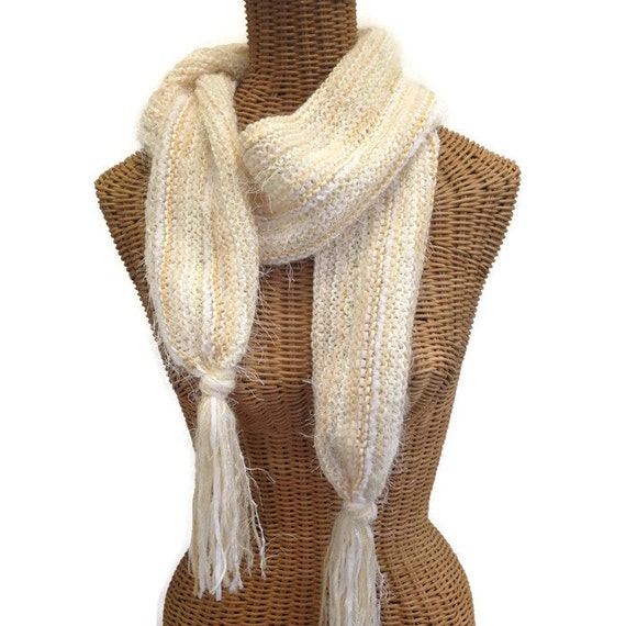 Scarf Womans Knit Muffler Winter White Wool Mohair Scarf Fringe Hand Knitted Neck Warmer Long Scarf Creamy Off White