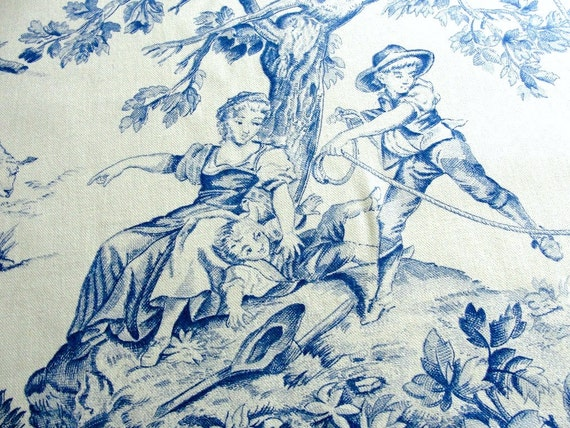 Vintage Blue Toile Decorator Fabric Victorian French