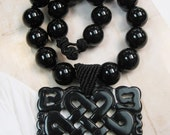 20% OFF ON SALE Onyx with Black Jade Pendant Necklace