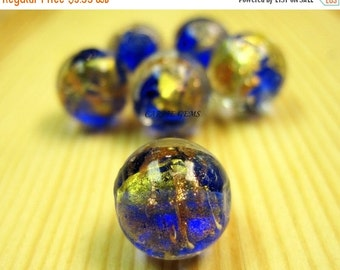 20% OFF ON SALE Silver Foil Lampwork Glass Blue 12mm Round Beads