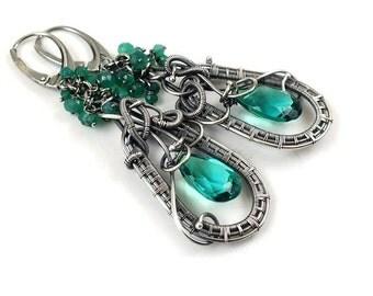 Wire wrapped earring, green long earring,sterling silver jewelry