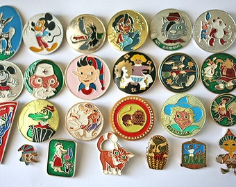 Soviet Vintage Badge Badges Pins Set of 24 Kids Children Cartoon Nu Pogodi Characters from Russia USSR Soviet Union