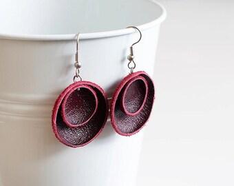 Dark red leather circle Earrings geometric SALE