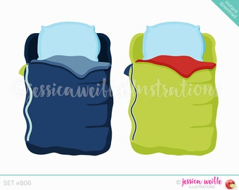 Instant Download, Boys Sleeping Bag Cute Digital Clipart, Cute Sleepover Clip art, Slumber Party Graphics, Sleeping Bag Illustration, #806