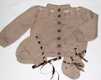 Baby Sweater set with Bonnet and Booties in Light Brown Owl Pattern for Baby 6 to 12 Months