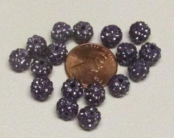 8mm Amethyst Rhinestone Disco Balls (20)