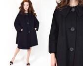 60s Black Swing Coat   Mohair Wool Winter Coat, Large