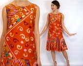 July 4th SALE 60s Orange Print Day Dress | Drop Waist Party Dress | Colorful Print Mini Dress, Small