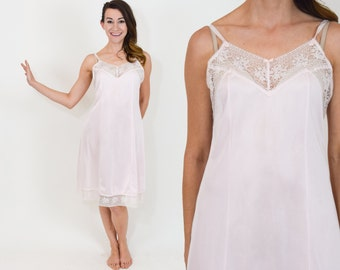 60s Pink Negligee | Pink Nightgown Lace Slip Nightie | Medium