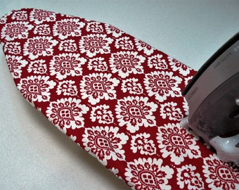 Ironing Board Cover TABLE TOP - blood red and white damask