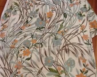 Vintage floral fabric  Cotton Flowers Drapery