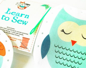 Kids Sewing Kit - Kids Craft Kit - Learn To Sew Kit - Gift Idea - My First Sewing Kit - Owl and Accorn DIY