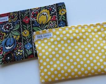 Reusable Snack Bag Set Floral Yellow Polka Dot Eco Friendly Snack Sacks