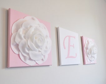 Trio Wall Canvas Set /Initial Room Decor / Pastel Home Decor / set of 3 / Light Pink and White Nursery Flower Home Decor