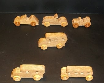 6 Handcrafted Oak Toy Vehicles  OT-7  non toxic finish