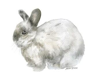Gray Rabbit Watercolor Painting - 10 x 8 - 11 x 8.5 - Giclee Print Reproduction - Bunny Nursery Art