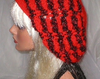20% OFF SALE Crochet Women's Teens Red Red Black Textured Slouchy Hat Beret Slouch Hat