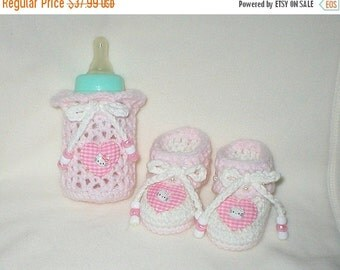 20% OFF SALE Crochet Baby 0-3 Mts 4 Oz. Bottle Cover Kitties By Hello Kitty Booties Gift Set