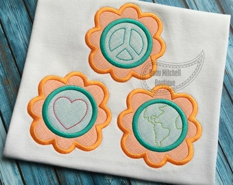Peace Love Earth - Satin & Bean stitch both included in this design!