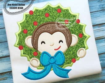 Sock Monkey Christmas wreath applique