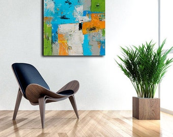 Colorful Wall Art Painting Sale Vibrant Abstract painting on canvas by Erin Ashley