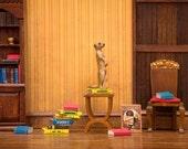 Meerkat library diorama art print for book lovers: Meerkat Den