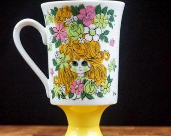 60s Vintage Coffee Cup Arnart Coffee Mug Flower Power Pedestal Mug Irish Coffee