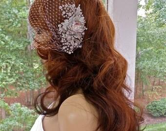 Bandeau Birdcage Veil, Wedding Blusher Veil, Rhinestone Bridal Veil, White Birdcage  Veil,  Ivory  Bridal Veil, White Bridal Veil