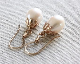 Freshwater Pearl Earrings, Pearl Drop Earrings, Filigree Earrings, White Pearl Earrings, Ivory Pearl Earrings, Gold Filled Jewelry