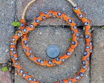 Krobo Beads: Gold/Blue/Orange 10x25mm
