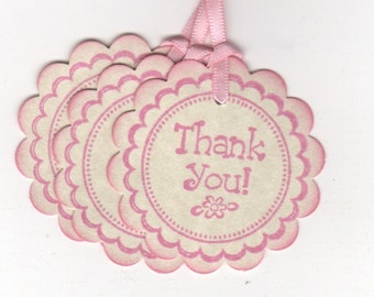 20 Baby Shower Thank You Favor Tags / It's A Girl Pink  Baby Gift Tags / Nail Polish Favor Tags  -  Vintage Style