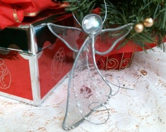 stained glass CLEAR iridescent ANGEL suncatcher or Ornament hand crafted OOAK