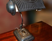 Lacoona Bankers' period metal desk lamp 1930s Deco vintage office study library home original condition untouched patina