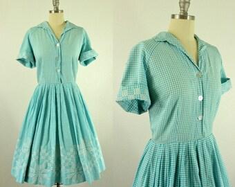 1950's Light Blue Gingham Shirtwaist Dress M L