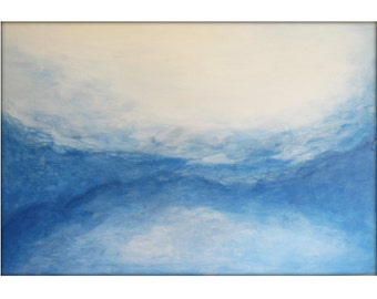 Original  Abstract Canvas Modern Acrylic Painting - 36x48 - Blues, White Yellow, Burnt Orange,  and more