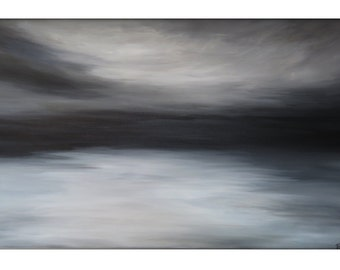 Large Abstract Painting on Canvas Modern Acrylic Skyline- 30x48- White, Browns, Black, and Grays