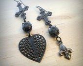 Gothic Jewelry Asymmetric Earrings Black Swarovski Crystals with Neo Victorian Charms Funky Jewelry for Woman