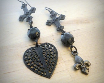 Long Black Gothic Earrings Mismatched Earrings Black Cross Earrings Cross Jewelry Inverted Cross Black Heart Earrings Heart Jewelry