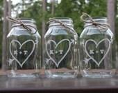 8 Engraved Mason Jars, Wedding Mason Jar Center Pieces, Personalized Engraved Mason Jars, Heart with arrow Mason Jar Mugs