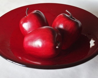 FUSED GLASS BOWL - Cherry Red Glass Bowl, Serving Bowl, Art Glass Bowl, Under 75, Red Art Glass, Glass Wedding Gift, Red Glass Home Decor