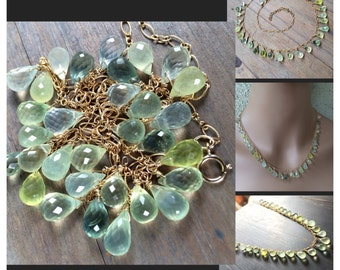 Prasiolite gold necklace. One of a kind.  Natural stone. Translucent green