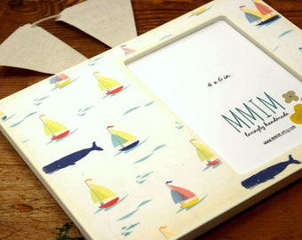 MOTHERS DAY SALE Sail Boats And Whales 4 x 6 Picture Frame, Photo Frame, Unique frames, nursery,  Baby shower,Nautical, New Baby, Modern B