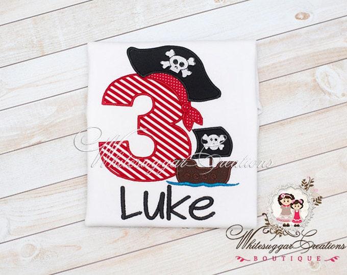 Baby Boy Birthday Pirate Ship Shirt - Embroidered Pirate Ship Birthday Party - Baby Boys First Second Third Birthday