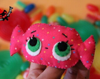 Pink candy felt brooch polka dots