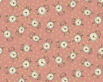 Alarm Clock Fabric - All in a Day from Henry Glass - Full or Half Yard Pink Tossed Alarm Clocks