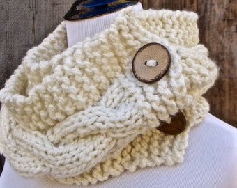 Circle Scarf, Infinity Scarf, Chunky Scarf, Cable Knit Scarf, Women's Scarf, Women's Circle Scarf, Knit Scarf, Scarf with Buttons, Cream