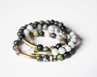READY TO SHIP Set of 3 jasper bead bracelets with gold accents layering pieces