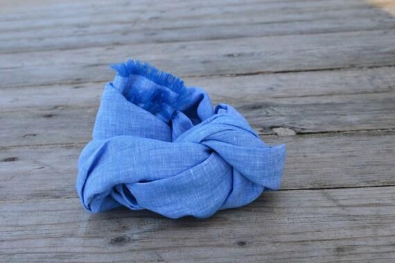 Blue Scarf | Womens Blue Scarf | Womens Scarf | Spring Scarf | Summer Scarf | Mens Scarf | Linen Scarf