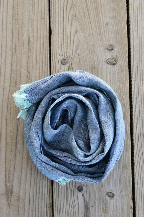 Linen Scarf, Pure Linen Scarf, Linen Shawl, Blue Linen Scarf, Men Linen Scarf, Linen Scarves, Women Scarf