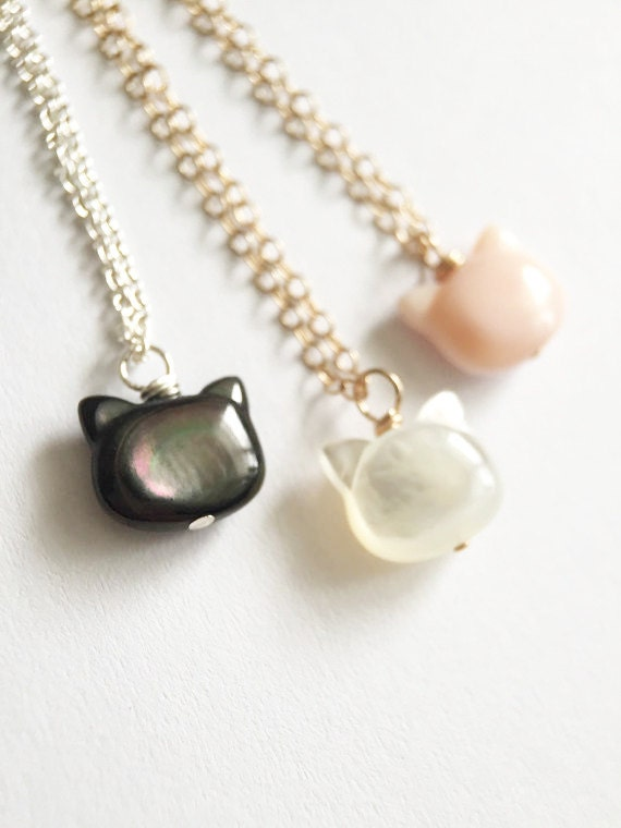 Mother of Pearl Cat Necklace